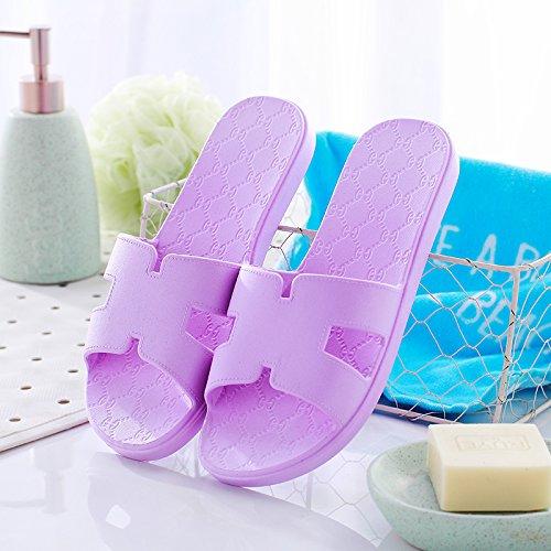 DogHaccd pantofole,In estate home pantofole donne coppie bagno antiscivolo pantofole fresca estate piscina uomini home soggiorno La porpora3