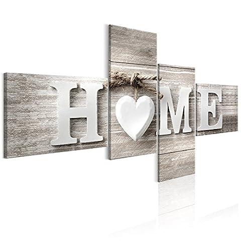 decomonkey   Bilder Home 200x100 cm 4 Teilig   Leinwandbilder   Vlies Leinwand   Wandbilder   Wand   Bild   Wandbild   Kunstdruck   Wanddeko   Haus Holz Herzen Liebe Vintage Retro   DKB0354a4L