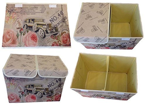 GMMH Aufbewahrungsbox 47x31x34 cm mit Deckel Lein Paris Rom England London Kiste Organizer (Paris Auto)