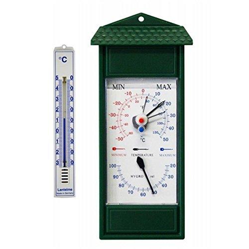 Min / Max Außen , Garten Hygrometer und Thermometer Bimetall Analog . Gartenthermometer Minimal Maximal Temperaturanzeige von - 50°C bis 50 °C . Thermohygrometer Farbe grün