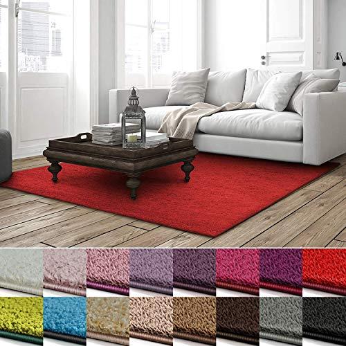 casa pura Shaggy Teppich Barcelona | weicher Hochflor Teppich für Wohnzimmer, Schlafzimmer, Kinderzimmer | GUT-Siegel + Blauer Engel | Verschiedene Farben & Größen | 200x300 cm | Rot -
