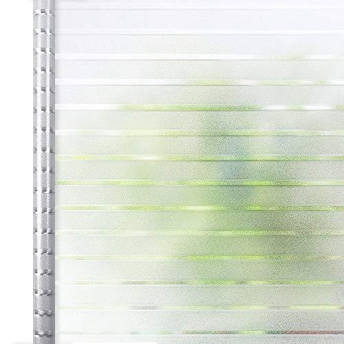 Homein Fensterfolie Streifen Sichtschutzfolie Folie für Fenster Selbstklebend Milchglasfolie Statisch Haftend Klebefolie Transparent Blickdicht Duschkabine Bad Küche Badfenster Büro Tür 90 x 200 cm -
