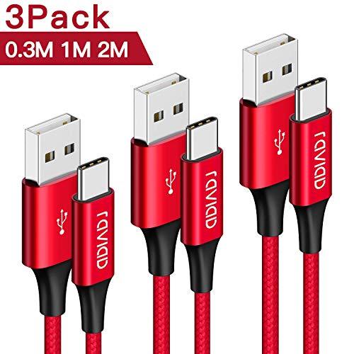 Cable USB Tipo C RAVIAD [3Pack 0.3M 1M 2M] Cargador Tipo C Carga Rápida y Sincronización Cable USB C para Samsung S10/S9/S8/A40/A50/A70/Note 9, Huawei P30/P20/Mate 20, Xiaomi Redmi Note 7, Sony Xperia