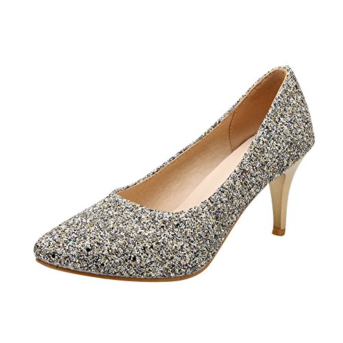 Mee Shoes Damen Pailleten Geschlossen high heels Pumps Silber