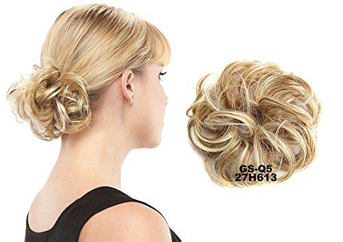 ShowPower Haargummi Haarteil Zopf Haarverdichtung Scrunchie Hochsteckfrisuren diverse Farben (Rotblond Bleach Blond gemischt 27H613 #)