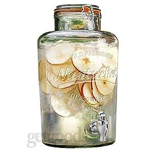 Get Goods Dispenser per bevande in vetro trasparente, con clip in acciaio inox e tappo argentato, capacità 8 l