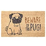 Egg N Chips London- Beware of the Pug-alfombrilla de fibra natural de coco, color beige