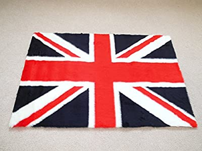 Union Jack Non Slip Machine Washable Sheepskin Style Kids Rug. Size 70cm x 100cm