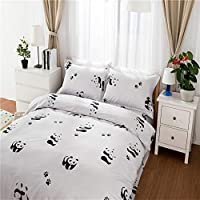 Morbuy Duvet Cover Bedding Set Cartoon Style, 2 x Pillowcases 1 x Quilt Case for Single Double King Size Bed(Single-135x200CM, Panda)