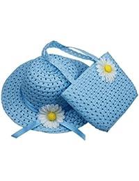 Y-BOA - Chapeau Plage de paille + Sac à main avec fleur – Eté– Casual – Voyage/ Soleil - Style Panama Trilby– Enfant fille 1~4ans