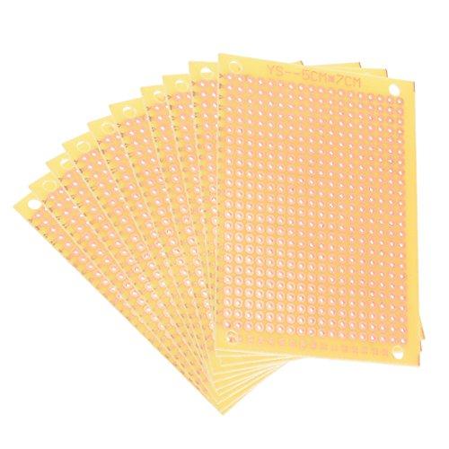 sourcing map 10 Stücke einseitig universell Papier Leiterplatte PCB Platine 5x7cm gelb DE de (Platten Gelbes Papier Weißes Und)
