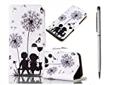 Protective Case PU Leather Case for Huawei P8 Lite Case, KSHOP Cover Case with Card Slots Flip Cover in Book-style with Stand Function Magnetic Buckle Includes Painted Pattern - Dandelion Lovers + Metal Touch Pen White