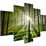 Bilder Wald Landschaft Wandbild 150 x 100 cm Vlies - Leinwand Bild XXL Format Wandbilder Wohnzimmer Wohnung Deko Kunstdrucke Grün 5 Teilig -100% MADE IN GERMANY - Fertig zum Aufhängen 602953a