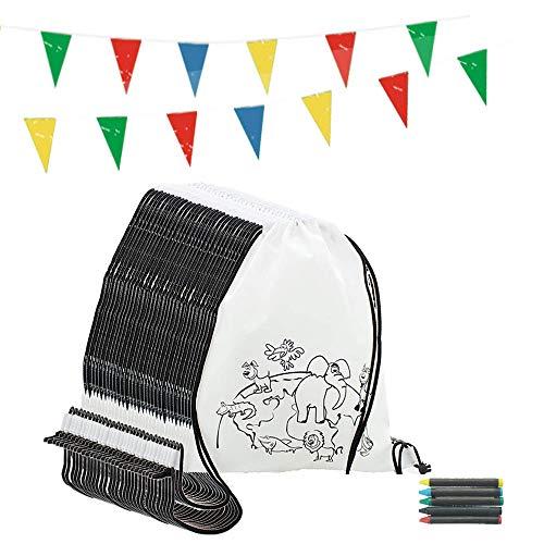 Partituki Mitgebsel Kindergeburtstag. 10 Taschen Zu Malen, 10 Sets mit 5 Farbigen Wachsen und 10m Girlande. Für Kindergeburtstag Gastgeschenke und Kleine Geschenke für Kinder (Geschenk Kleine Tasche)