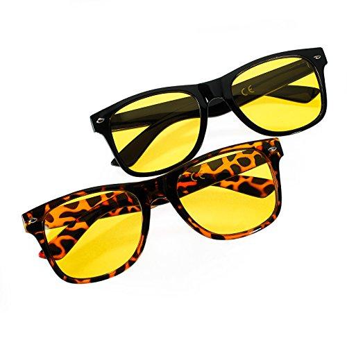 Romens Ltd 2er Set Herren Damen Night Vision Polarisiert Nacht-Brille Kontrast-Brille Schlechtes Wetter Gläser Nachtsicht-Brille (Set Night Polarised Black Panther)