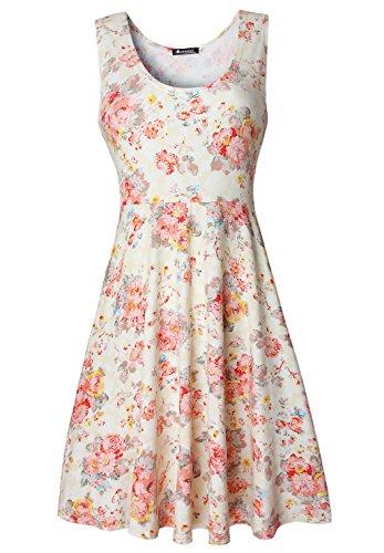 Damen Vintage Sommerkleid Traeger mit Flatterndem Rock Blumenmuster