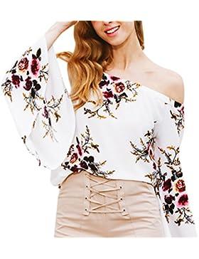 Masterein Mujeres blusa de gasa suelta flores impresas de hombro con mangas trompeta