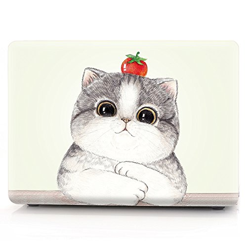 L2W MacBook Air 13 Hülle Zubehör Laptop Plastik Hartschale Tasche Schutzhülle für Apple MacBook Air 13 Zoll Modell A1466/A1369 Katze