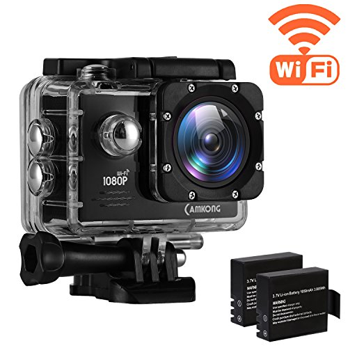 CAMKONG Action Kamera WIFI sport Action Camera 14MP Full HD Helmkamera wasserdichte Action Cam waterproof camera mit 2 Verbesserten Batterien und Zubehör Kits