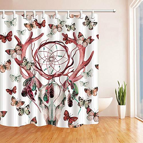 hdrjdrt Ciervo atrapasueños Mariposa Cortina de baño, decoración del baño, Cortina de Ducha, a Prueba de Agua, Opaca, Inodoro, Cortina Creativa.
