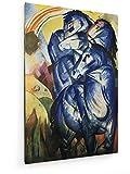Franz Marc - der Turm der Blauen Pferde - 20x30 cm - Textil-Leinwandbild auf Keilrahmen - Wand-Bild - Kunst, Gemälde, Foto, Bild auf Leinwand - Alte Meister/Museum
