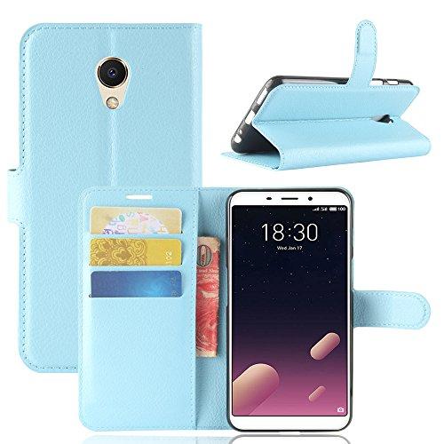 Kihying Hülle für Meizu M6s / Meilan S6 Hülle Schutzhülle PU Leder Flip Wallet Fashion Geschäft HandyHülle (Blau - JFC07)