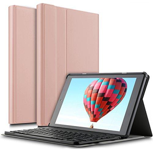 IVSO Das neue Fire HD 10 QWERTZ Tastatur, Abnehmbare Wireless Bluetooth Tastatur Schutzhülle mit Standfunction für All-New Amazon Fire HD 10,1 Zoll (7th Gen.- 2017 Modell) Tablet, Rosegold
