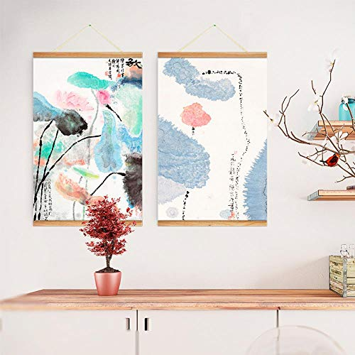 JZGDH Rollbild Lotus Zen Tuschmalerei 40X80Cm DIY Naturholz Foto/Bild/Leinwand Malerei/Für Home Hd Print Dekoration Wandkunst Scrollen - Scrollen Leinwand