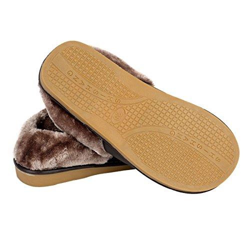 Pantofole Marrone Haisum Antiscivolo Uomo Vivere camera Caldo 8819 Appartamento per Pelle da scuro Inverno In letto Morbido Ciabatte Ufficio aw04xrqa