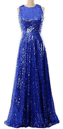 MACloth Elegant Sequin Long Bridesmaid Dress Simple Prom Gown Evening Gown Royal Blue