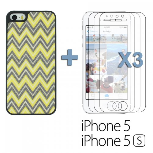 OBiDi - Sand Surface W Shape Hard Back Cover Case / Housse pour Apple iPhone SE / Apple iPhone 5S / 5 - Arc-en-ciel avec 3 Film de Protection et Stylet Jaune