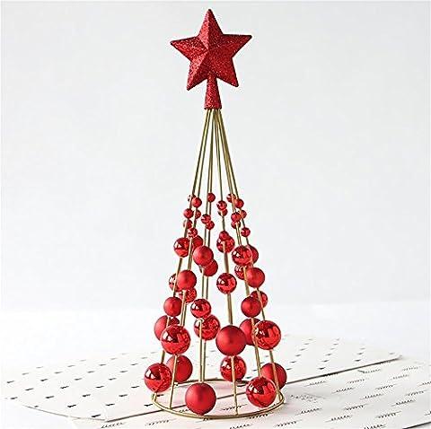 LIUYU Décorations de Noël Mini arbre de Noël Iron Ball Bureau Décoration Décoration de bureau, Rouge / 300G