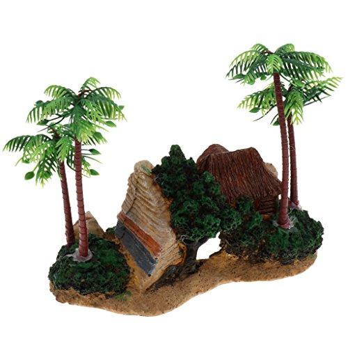 SunniMix Mini Harz Und Künstliche Kokosnuss Palme Aquarium Pflanzen Verzierungskunst - Typ 1
