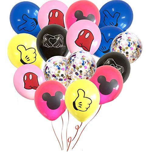 NAXIE 50er Pack Mickey Mouse Luftballons, 30 cm Baby Birthday Party Supplies Latex Luftballons, Mickey Color Konfetti Luftballons Kit für Baby Shower Mickey Mouse Theme Party Dekoration ()
