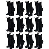 Lavazio 12 | 24 | 36 | 48 Paar Topmodische Socken für Damen &Teenager verschiedene Farb-Kombis, Größe:35-38, Farbe:schwarz
