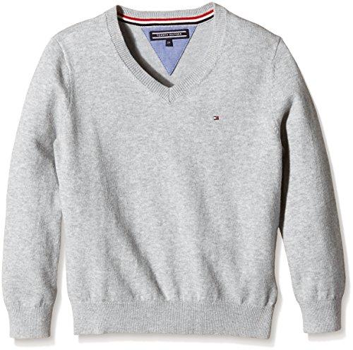 Tommy Hilfiger Jungen Pullover Tommy VN Sweater L/S, Grau (Grey Heather 004), 176 (16)