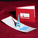 [Actasy Tech] 3D Creative Paper Card With Envelope Tour Eiffel Paris The Kirigami Papercraft 3D Pop Up Anniversary Baby Birthday Mother's Day Valentine's Wedding Greeting Invitation Cut Art (Blue)