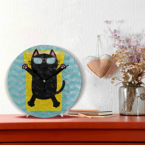 Große Wanduhr Schule Cool Cat Wear Brille Non-Ticking Runde Silent Diamond Display Wanduhren Malerei Dial Küche Schlafzimmer Dekor Cool Home Clock