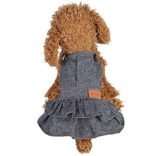Amphia - Haustier Hunderim Rock - Hundewelpen-Kleid-Katzen-Reine Farben-Denim-Kleid-Haustier-Hundekleidungs-Kleidung(Grau,S)