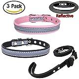 Newtensina Mode 3 Stück Hundehalsband und Leine Set Reflektierende Welpen Halsbänder mit Fliege Leine für Kleine Zuchthunde