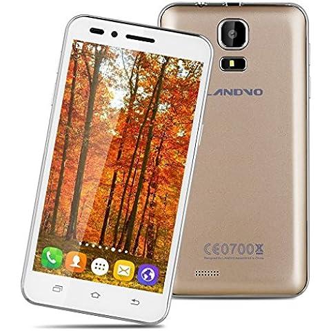 Landvo V1 - 3G Smartphone Libre Android 5.1 (4.5'' QHD, Dual Sim, 4Gb Rom 512Mb Ram, Quad Core 1.3Ghz, Smart Wake, GPS, WIFI, 2Mp) (Dorado)