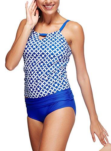 Azue Damen Zwei Teile Tankini Set Push up Schwimmanzug Neckholder Bademode Badeanzug Blau