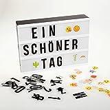 AGM Lichtbox, LED Lichtkasten A4, Licht Box mit Deutsch Buchstaben und 85 bunten Symbole und Emojis(inklusiv insgesamt 255 Karte)
