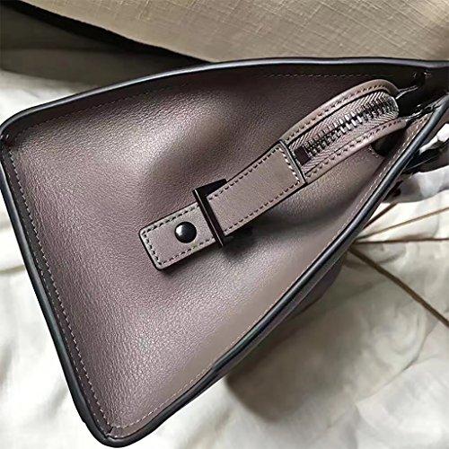 Mena UK Borse grandi della spalla del sacchetto di Tote di atmosfera di cuoio genuino di modo delle donne multifunzionali ( Colore : Vino rosso , dimensioni : 30 centimetri ) Grigio