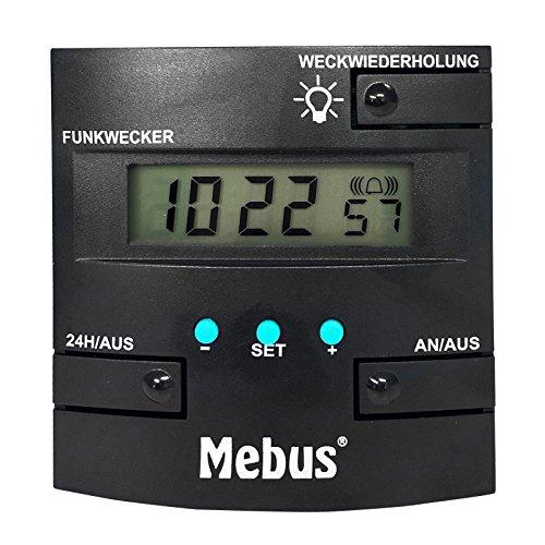 Mebus digitaler Funk Wecker, DCF77 Funkuhr, mit Datumsanzeige & orangener Hintergrundbeleuchtung