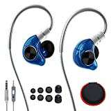 In Ear Sports Headphones, HIFI Wired Earbuds with Noise Isolating, Microphone and Remote, Flex Memory Wire Earhooks Earphones for Running Fitness Jogging Gym Exercise Workout IPhone Samsung Blue