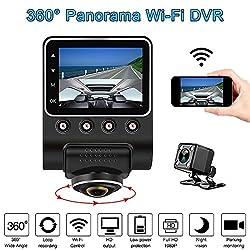 KKmoon Dash Cam 1080 P 2,5 360 Grad Panorama WiFi Auto Kamera Vollansicht HD Auto DVR Recorder Versteckte Camcorder Dash Cam Nachtsicht Fisheye len