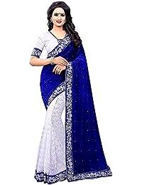 Lovisa Fashion Women's Half Half Velvet Saree (Bluevelvet_un-stitched Blouse)