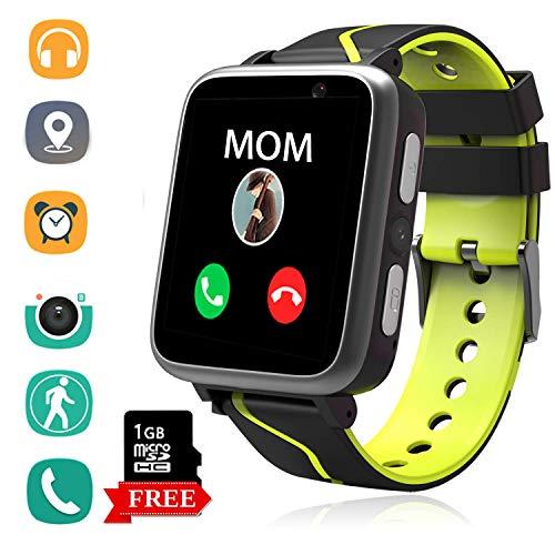 Telefono Reloj Inteligente La Musica Niños - MP3 Player Smartwatch con Localizador LBS Chat de Voz Despertador Camara Linterna Podómetro per Niño y Niña de 4-15 Años (G613-Black)