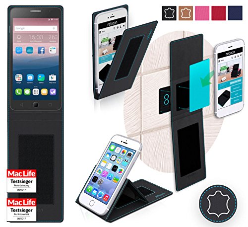 reboon Hülle für Alcatel OneTouch Pop Star 4G Tasche Cover Case Bumper   Schwarz Leder   Testsieger
